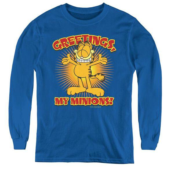 Garfield Minions - Youth Long Sleeve Tee - Royal Blue