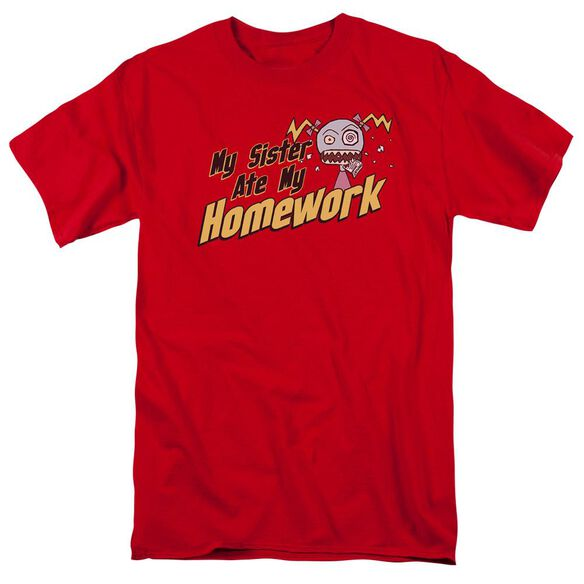 My Sister Ate My Homework Short Sleeve Adult Red T-Shirt