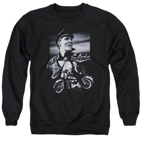 Elvis Motorcycle Adult Crewneck Sweatshirt