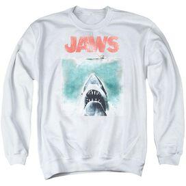 Jaws Vintage Poster - Adult Crewneck Sweatshirt - White
