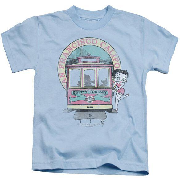 Betty Boop Betty's Trolley Short Sleeve Juvenile Light Blue T-Shirt