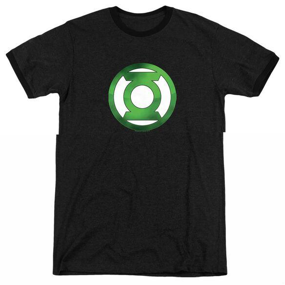 Green Lantern Green Chrome Logo - Adult Heather Ringer - Black