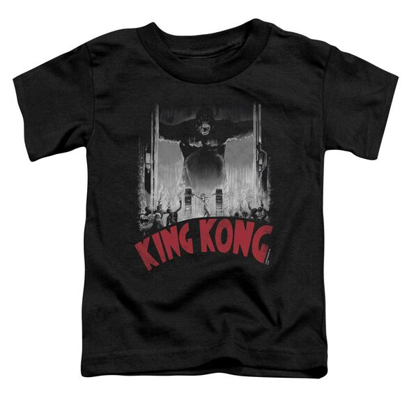King Kong At The Gates Poster Short Sleeve Toddler Tee Black T-Shirt
