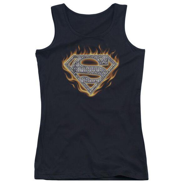 Superman Steel Fire Shield Juniors Tank Top