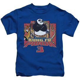 Kung Fu Panda Kung Furry Short Sleeve Juvenile Royal Blue T-Shirt