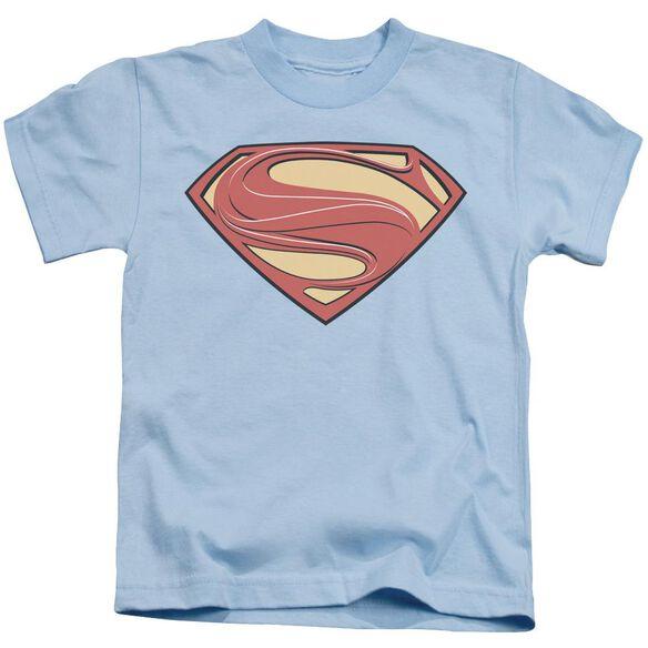 Man Of Steel New Solid Shield Short Sleeve Juvenile Light Blue T-Shirt