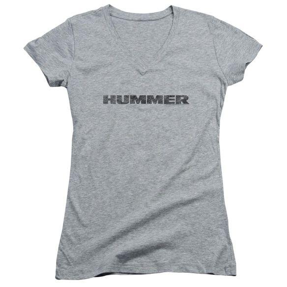 Hummer Distressed Hummer Logo Junior V Neck Athletic T-Shirt