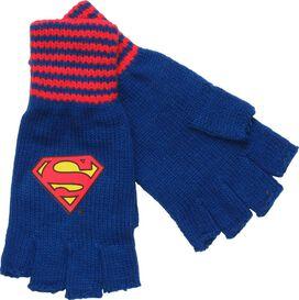 Superman Logo Striped Wrist Fingerless Gloves