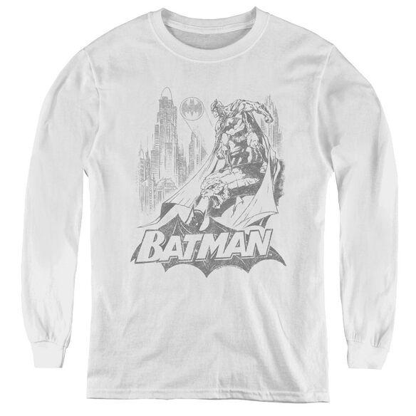 Batman Bat Sketch - Youth Long Sleeve Tee - White