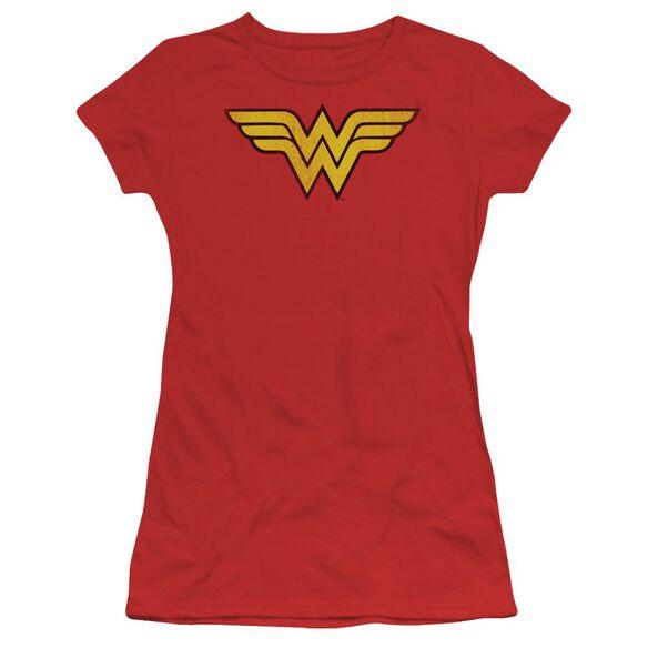 Dc Wonder Woman Logo Dist Short Sleeve Junior Sheer T-Shirt