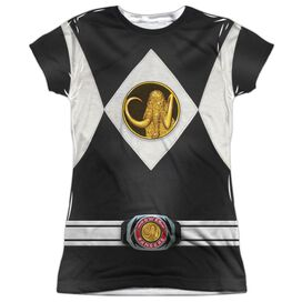 Power Rangers Black Ranger Uniform Short Sleeve Junior Poly Crew T-Shirt