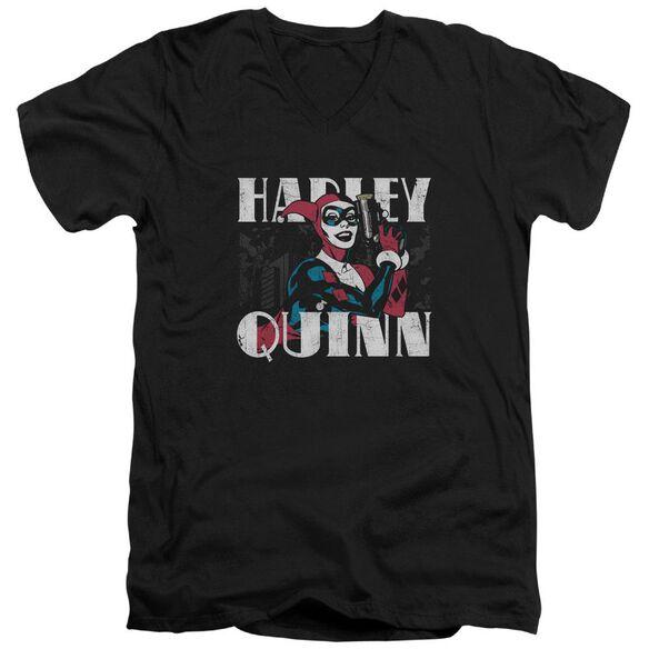 Batman Harley Bold Short Sleeve Adult V Neck T-Shirt