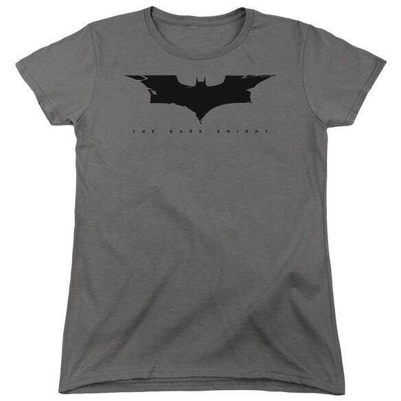Dark Knight Cracked Bat Logo Short Sleeve Womens Tee Charcoal T-Shirt