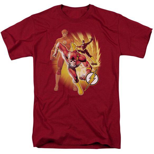 Jla Flash Collage Short Sleeve Adult T-Shirt