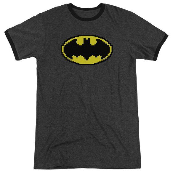 Batman Pixel Symbol Adult Heather Ringer Charcoal