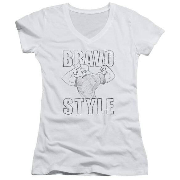 Johnny Bravo Bravo Style Junior V Neck T-Shirt