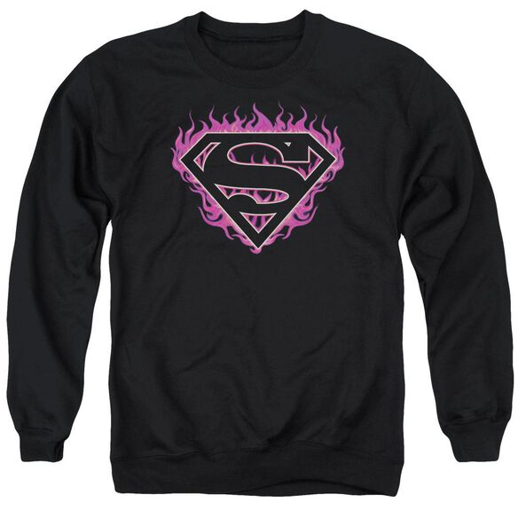 Superman Fuchsia Flames Adult Crewneck Sweatshirt