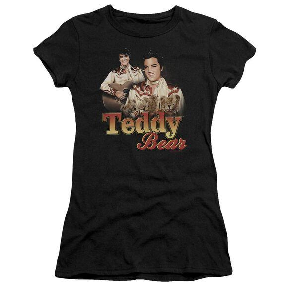 ELVIS PRESLEY TEDDY BEAR - S/S JUNIOR SHEER - BLACK T-Shirt