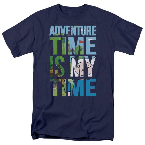 Adventure Time My Time Short Sleeve Adult Navy T-Shirt