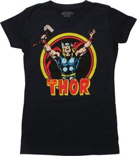Mighty Thor Navy Mighty Fine Juniors T-Shirt
