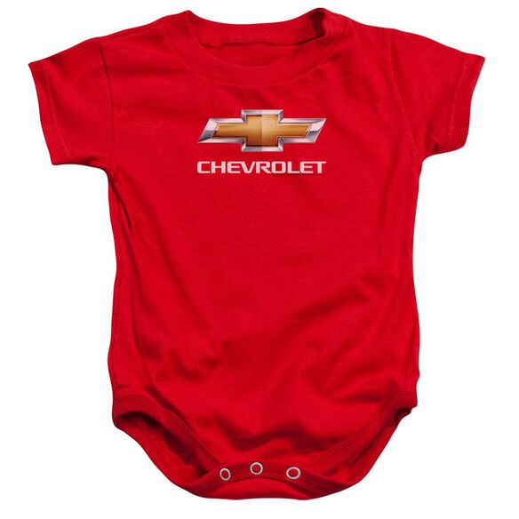 Chevrolet Chevy Bowtie Stacked Infant Snapsuit Red