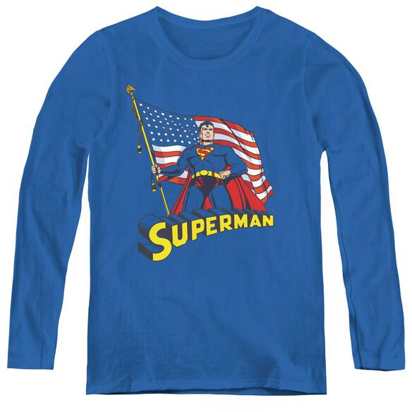 Superman American Flag-womens Long Sleeve