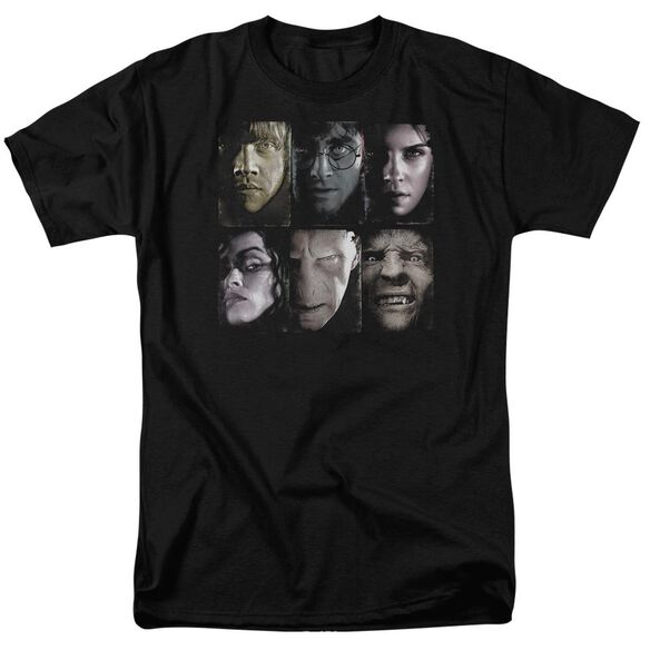 Harry Potter Horizontal Heads Short Sleeve Adult Black T-Shirt