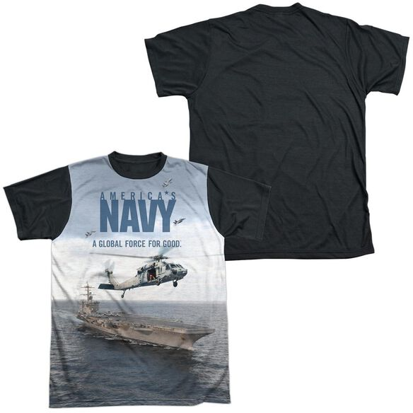 Navy Over And Under Short Sleeve Adult Front Black Back T-Shirt