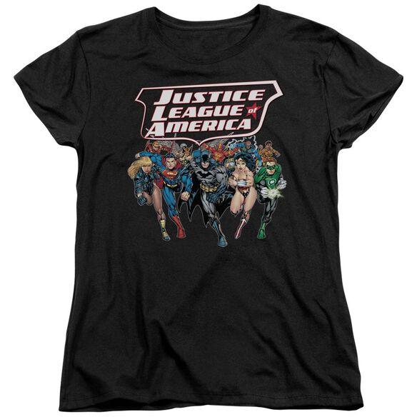 Jla Charging Justice Short Sleeve Womens Tee T-Shirt