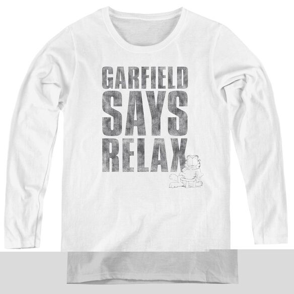 Garfield Relax - Womens Long Sleeve Tee - White