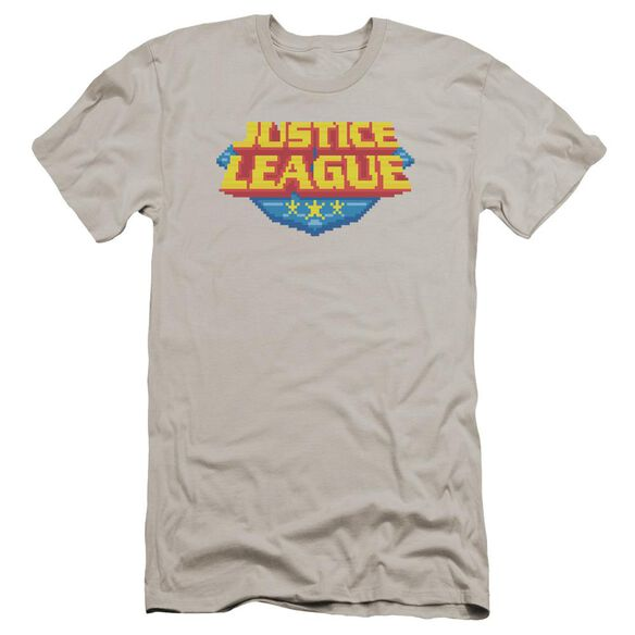 Jla 8 Bit Logo Premuim Canvas Adult Slim Fit