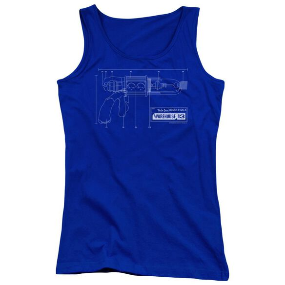 Warehouse 13 Tesla Gun Juniors Tank Top Royal