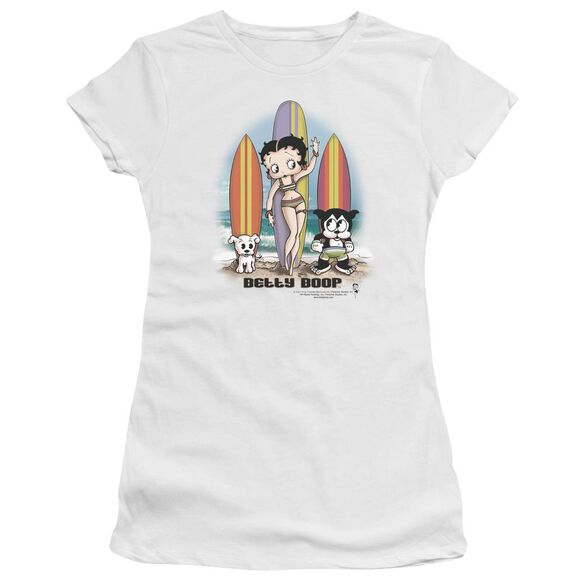 Betty Boop Surfers Short Sleeve Junior Sheer T-Shirt
