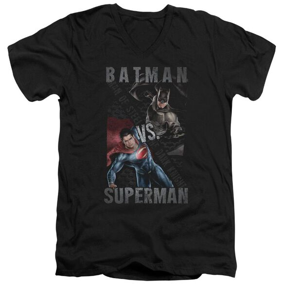Batman Vs Superman Hero Split Short Sleeve Adult V Neck T-Shirt