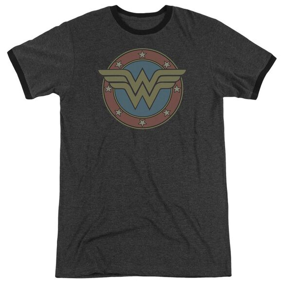 Dc Ww Vintage Emblem Adult Heather Ringer Charcoal