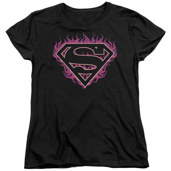 Superman Fuchsia Flames Short Sleeve Womens Tee T-Shirt