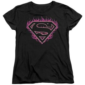 Superman Fuchsia Flames Short Sleeve Womens Tee T-Shirt