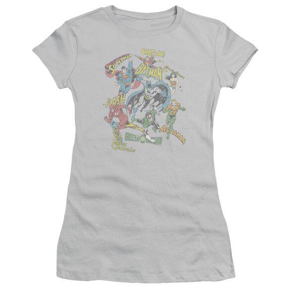 Dc Super Collage Short Sleeve Junior Sheer T-Shirt
