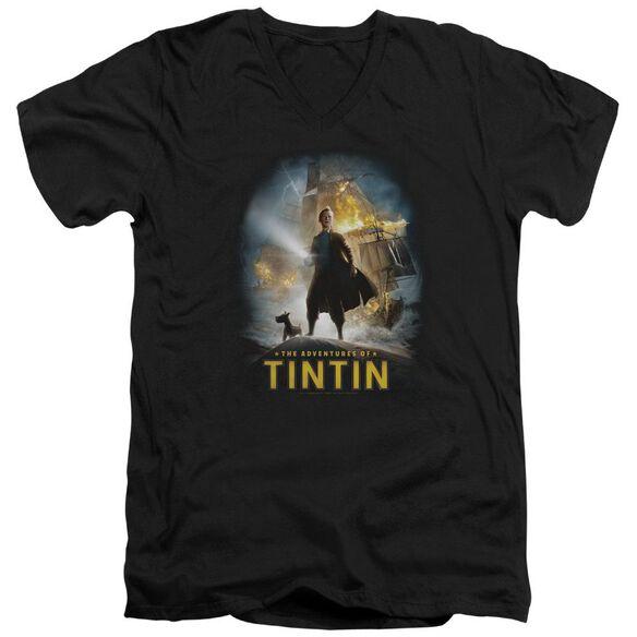 Tintin Poster Short Sleeve Adult V Neck T-Shirt