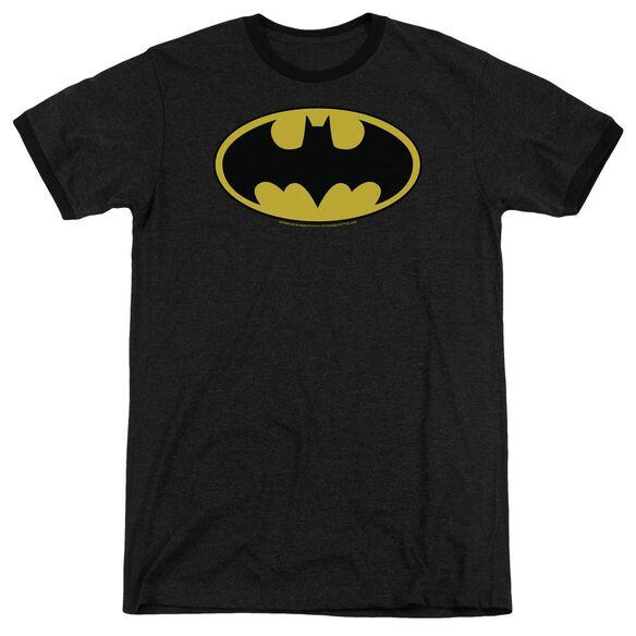 Batman Classic Logo Adult Heather Ringer Black