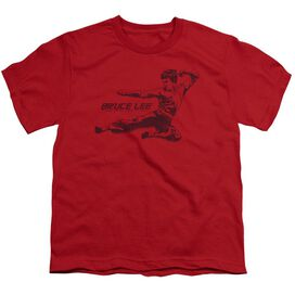 Bruce Lee Line Kick Short Sleeve Youth T-Shirt