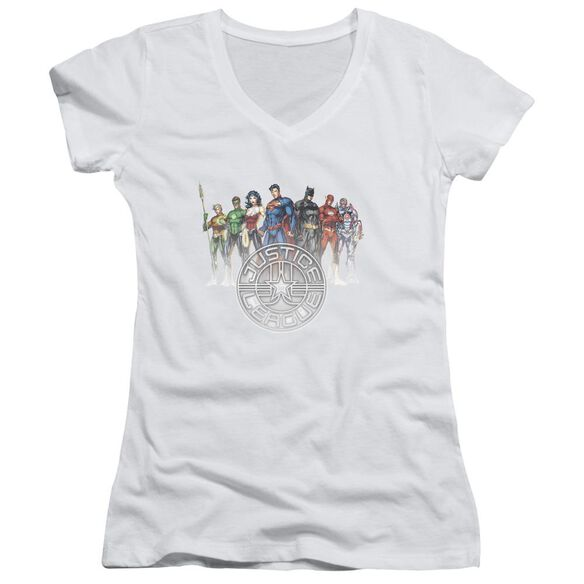 Jla Circle Crest Junior V Neck T-Shirt