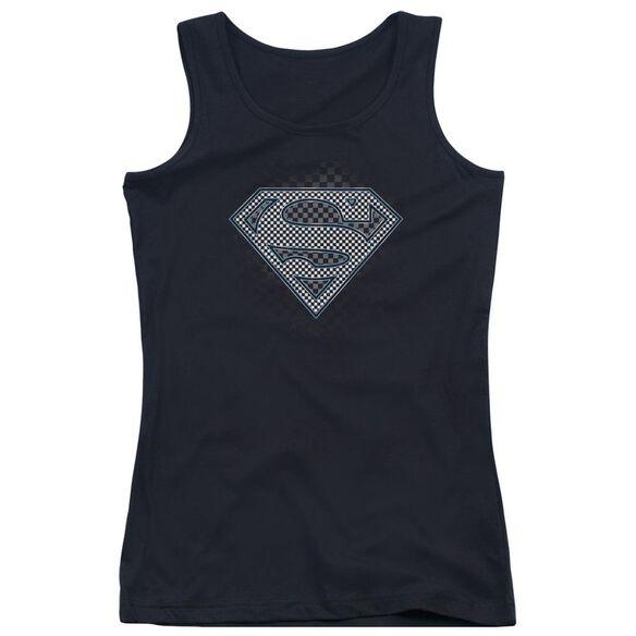 Superman Checkerboard Juniors Tank Top