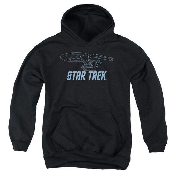 Star Trek Enterprise Outline-youth Pull-over Hoodie - Black