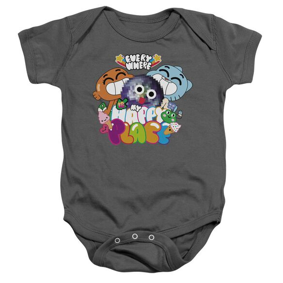 Amazing World Of Gumball Happy Place Infant Snapsuit Charcoal