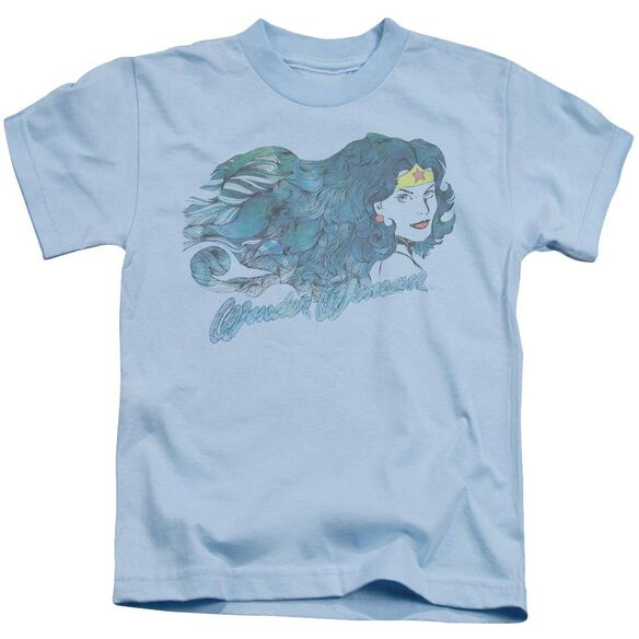 Jla Watercolor Hair Short Sleeve Juvenile Light Blue T-Shirt