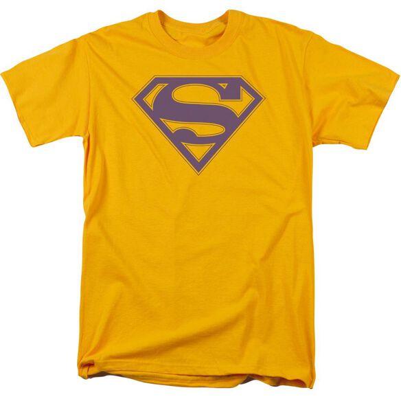 Superman Purple & Gold Shield Short Sleeve Adult Gold T-Shirt