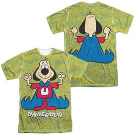 Underdog Flexing (Front Back Print) Short Sleeve Adult Poly Crew T-Shirt
