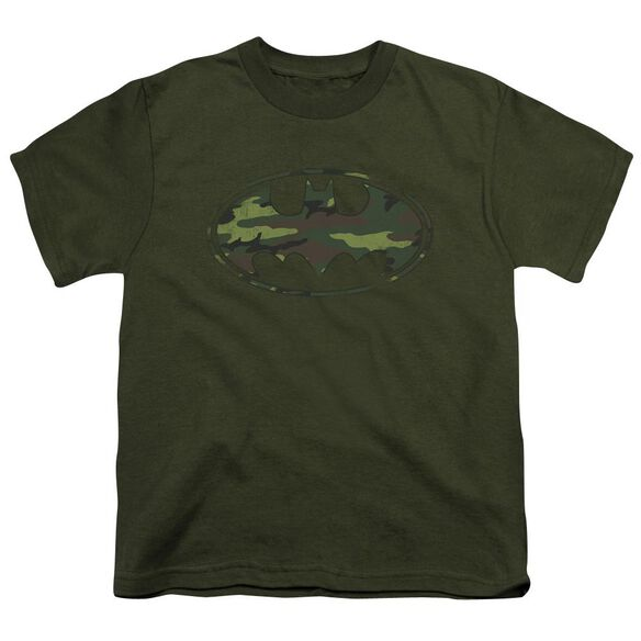 Batman Distressed Camo Shield Short Sleeve Youth Military T-Shirt