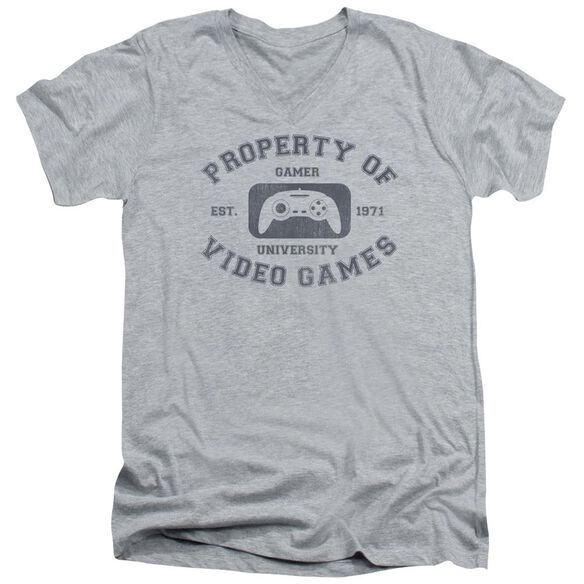 Gamer University Short Sleeve Adult V Neck Athletic T-Shirt